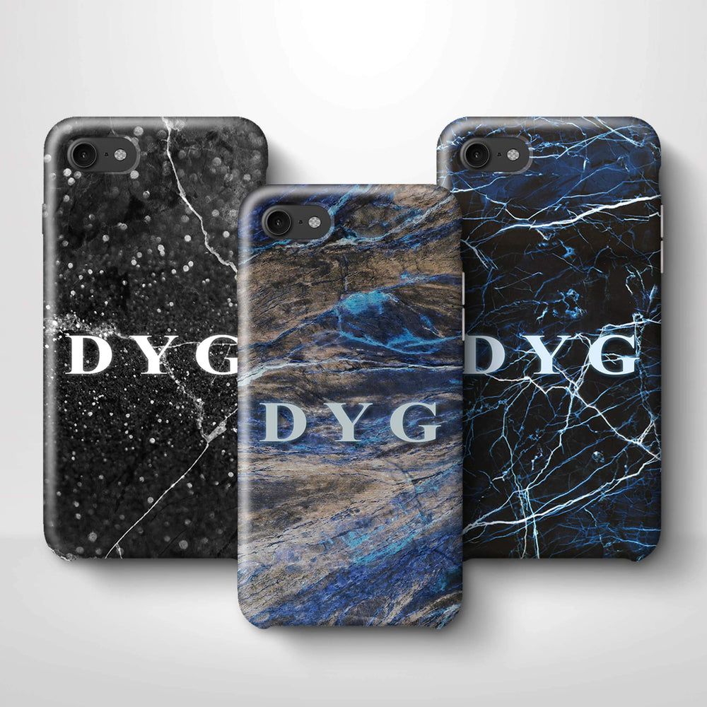Dark Marble With Initials iPhone 7 3D Custom Phone Case variants
