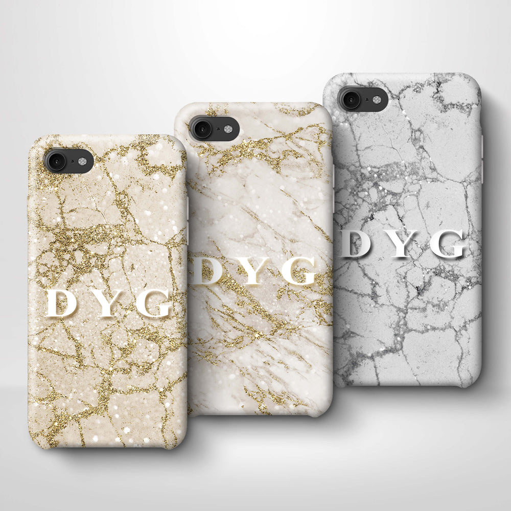 Pearl Marble With Initials iPhone 7 3D Custom Phone Case variants