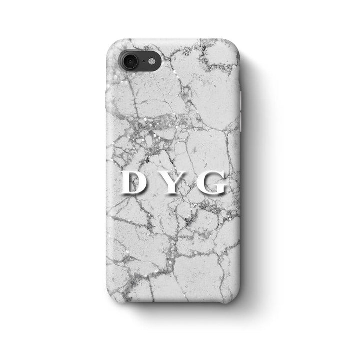Pearl Marble With Initials iPhone 7 3D Custom Phone Case silver