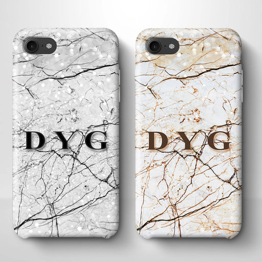 Marble Veins With Initials iPhone 7 3D Personalised Phone Case variants