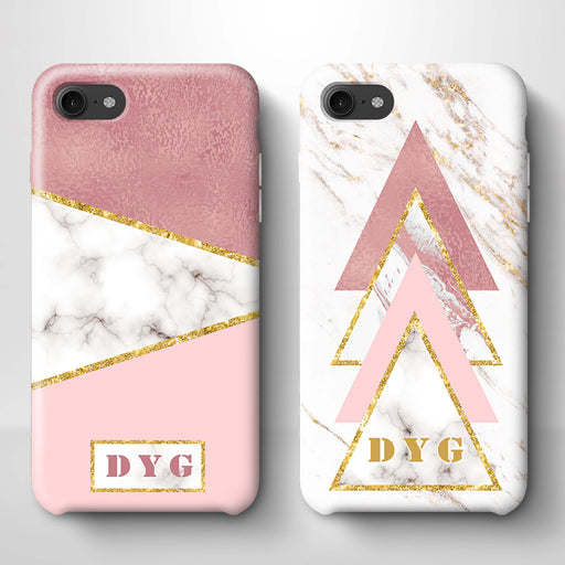 White & Rose marble With Initials iPhone 7 3D Custom Phone Case variants