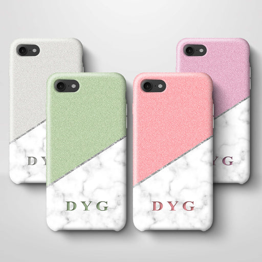 White marble & Glitter With Initial iPhone 7 3D Custom Phone Case variants
