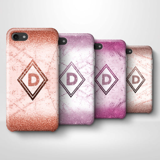 luxury Marble & Glitter With Initial iPhone 7 3D Custom Phone Case 4 variants