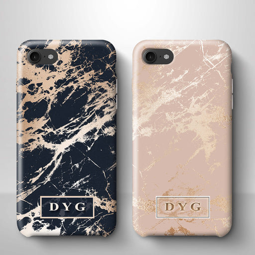 Luxury Gloss Marble With Initials iPhone 7 3D Custom Phone Case variants