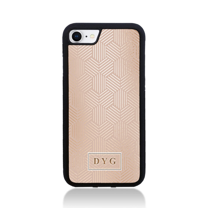 iPhone 7 Black Rubber Case | Glossy Pattern with Initials - champagne background with glossy rose geometric pattern