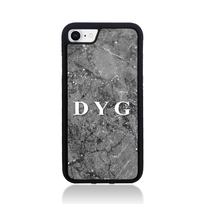 iPhone 7 Black Rubber Case | Sparkle Marble with Initials - silver mink marble effect