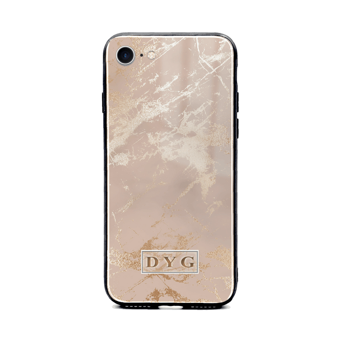 iphone 7 glass phone case personalised with initials on champagne glossy marble