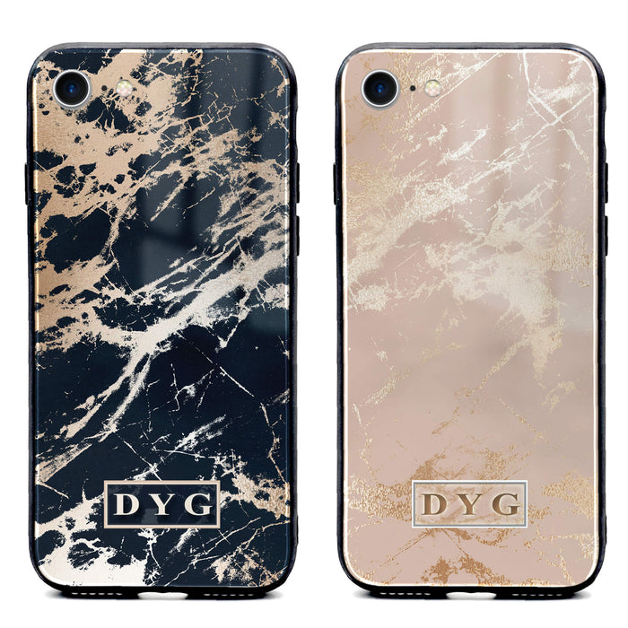 iphone 7 glass phone case personalised with initials on glossy marble available in black and champagne