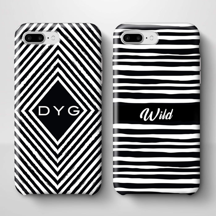 Black & White Patterns with Initial iPhone 7 Plus 3D Custom Phone Case variants