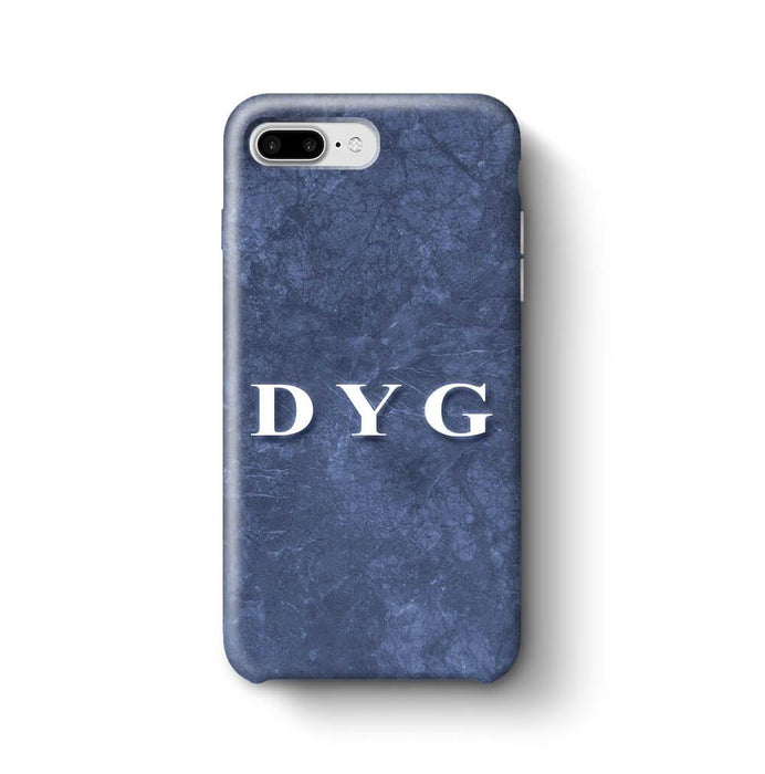 Blue Marble With Initials iPhone 7 Plus 3D Custom Phone Case blue noir