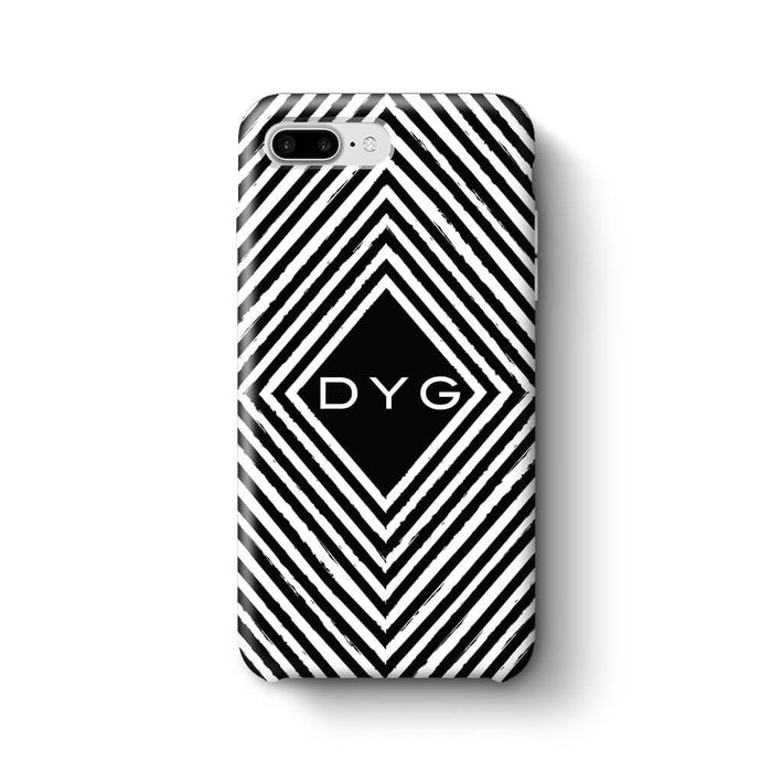 Black & White Patterns with Initial iPhone 7 Plus 3D Custom Phone Case geometric pattern