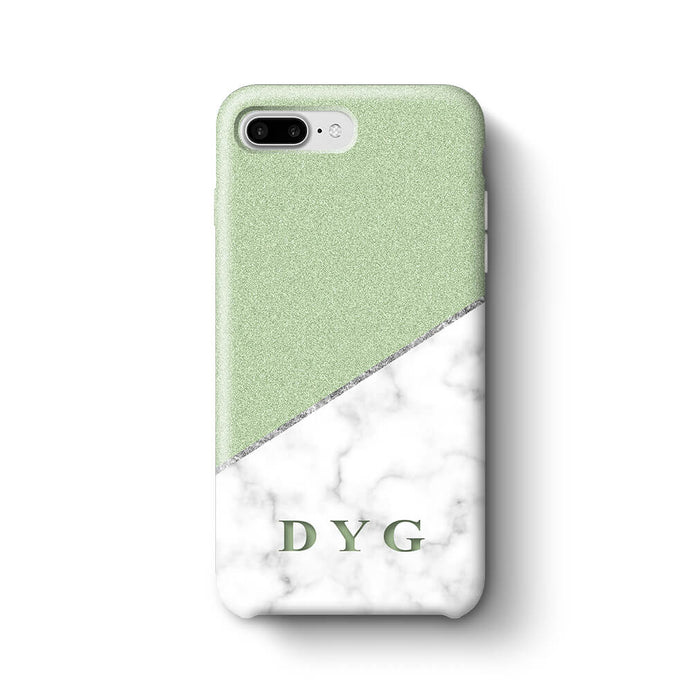 White marble & Glitter With Initial iPhone 7 Plus 3D Custom Phone Case mint