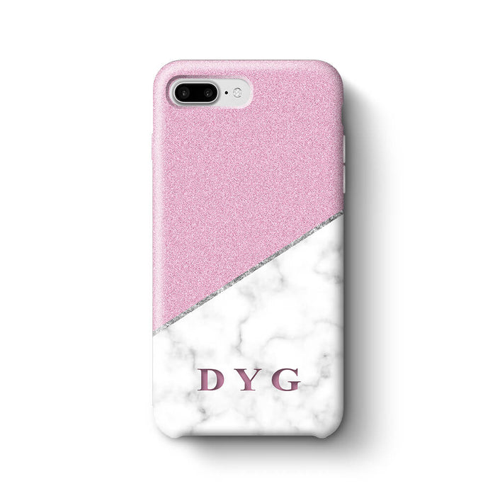 White marble & Glitter With Initial iPhone 7 Plus 3D Custom Phone Case purple