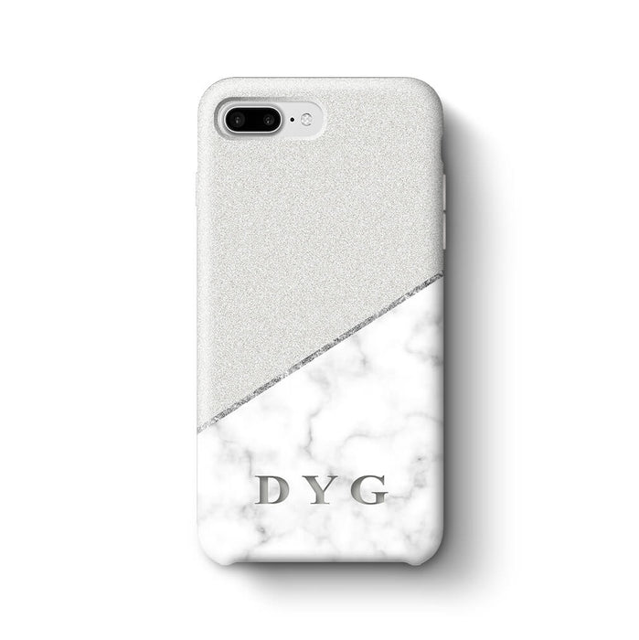 White marble & Glitter With Initial iPhone 7 Plus 3D Custom Phone Case silver