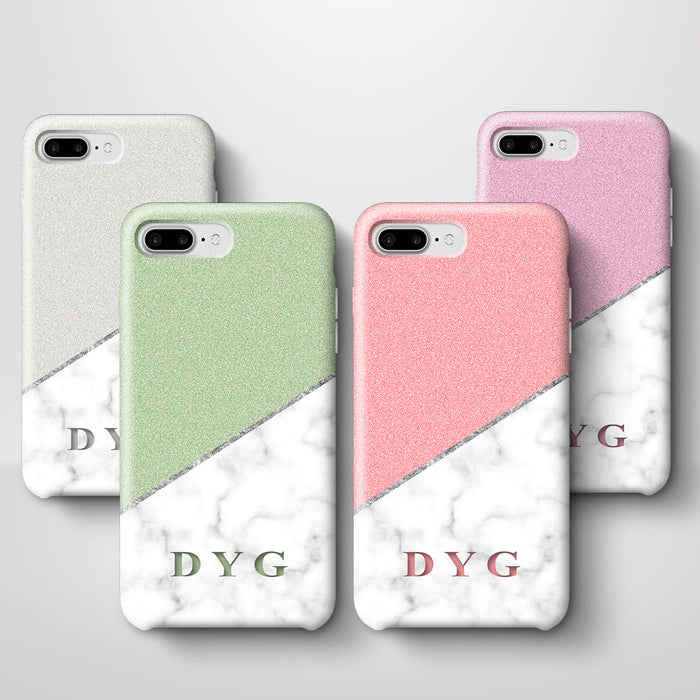 White marble & Glitter With Initial iPhone 7 Plus 3D Custom Phone Case variants