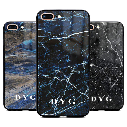 Custom initials iPhone 7+ Glass phone case printed with dark marble effects available in 3 colours