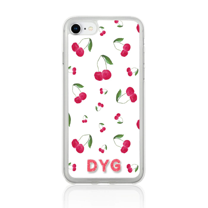 Fruity Design with Initials - iPhone 7 Clear Phone Case - Cherry Design
