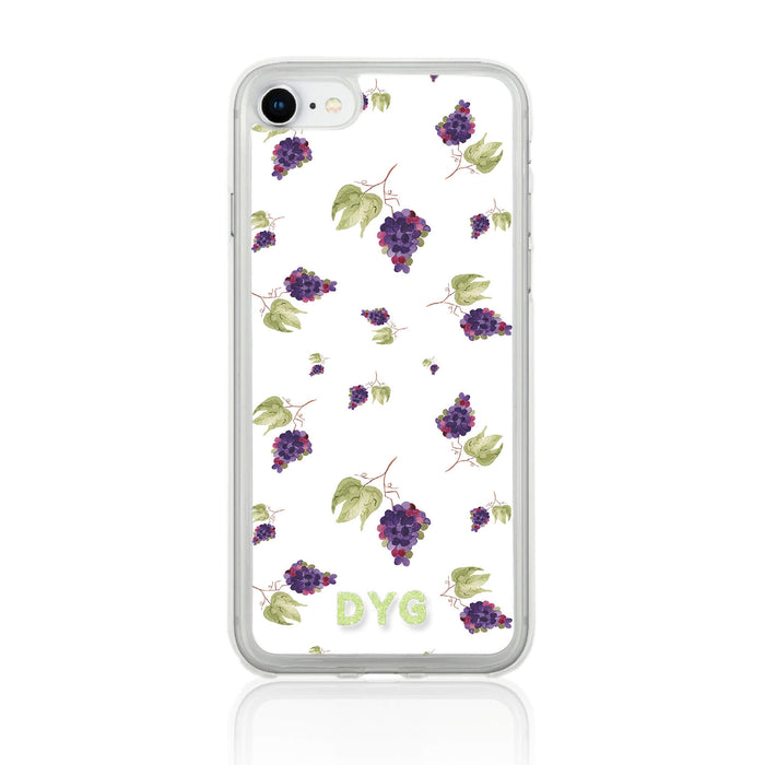 Fruity Design with Initials - iPhone 7 Clear Phone Case - Grapes design