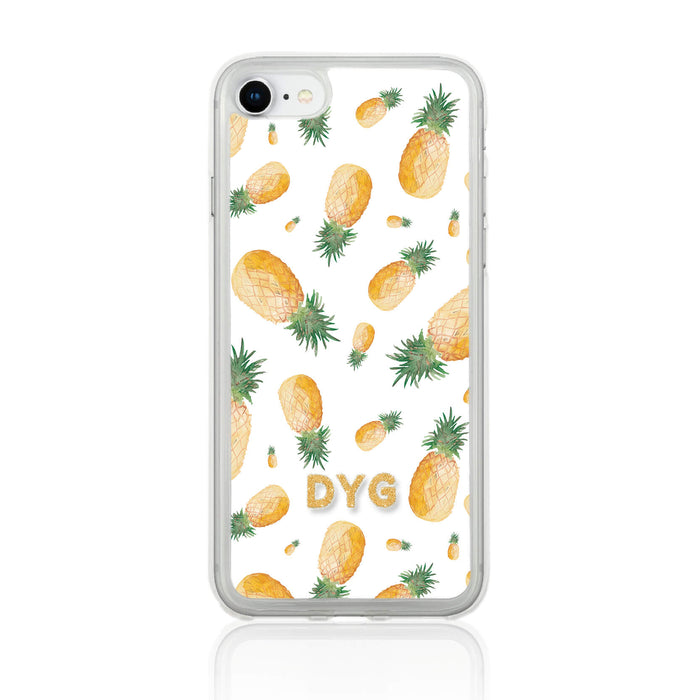Fruity Design with Initials - iPhone 7 Clear Phone Case - Pineapple Design