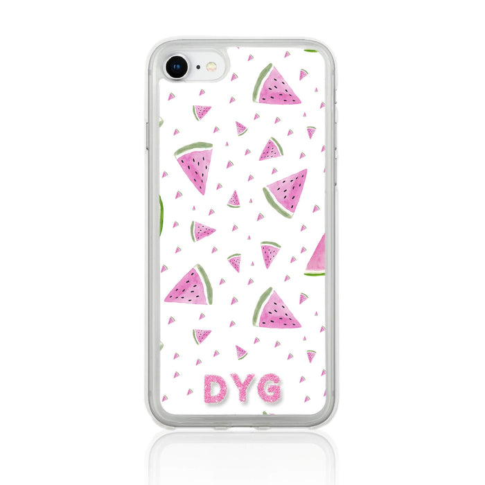 Fruity Design with Initials - iPhone 7 Clear Phone Case - Watermelon Design
