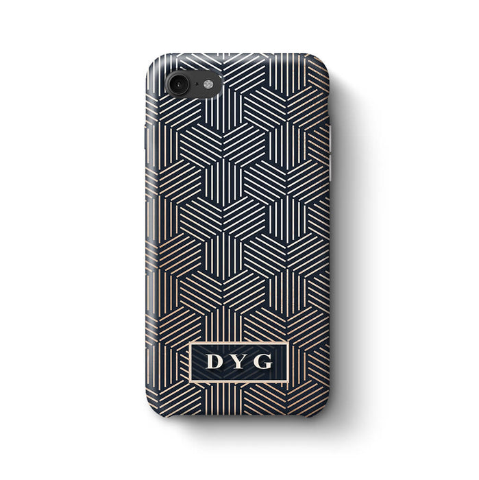 Glossy Geometric Pattern With Initials iPhone 8 3D Phone Case Black
