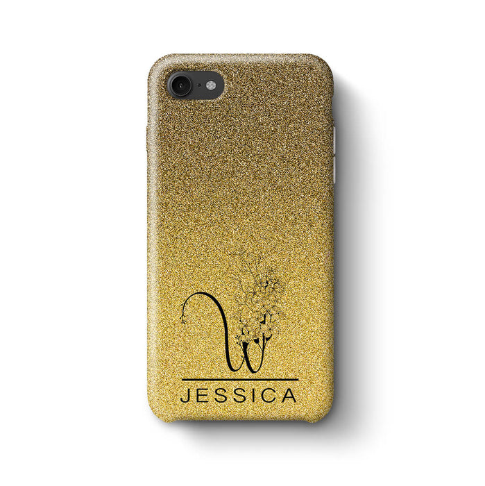 Glitter Ombre With Initial & Name iPhone 8 3D Custom Phone Case black and gold