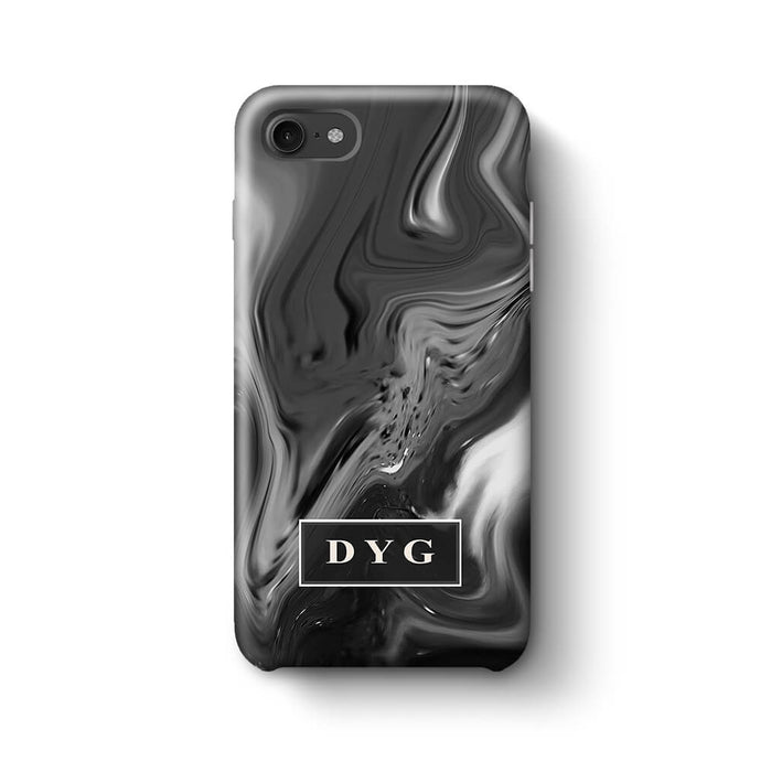 Liquid Marble With Initials iPhone 8 3D Personalised Phone Case black