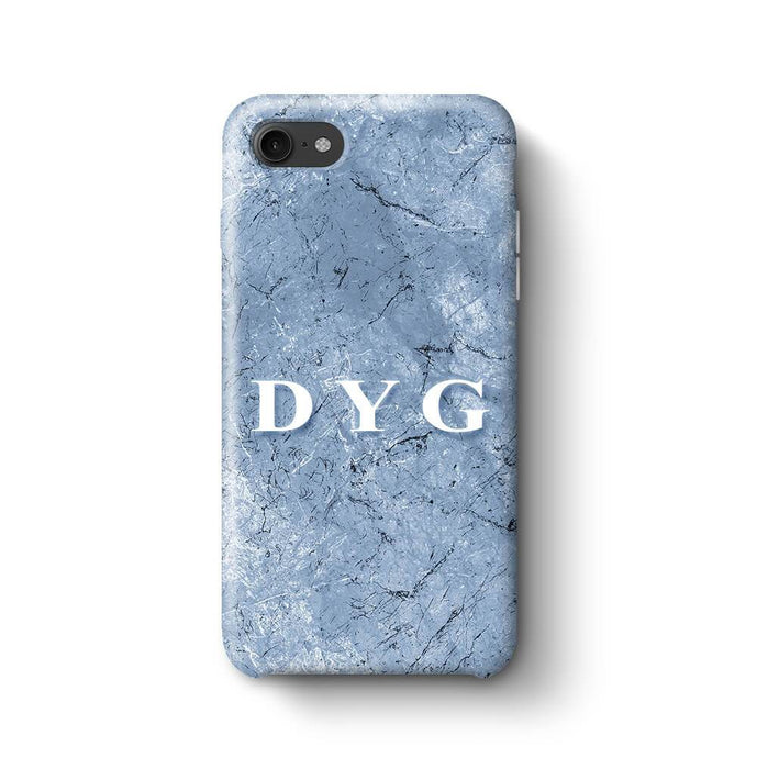 Blue Marble With Initials iPhone 8 3D Custom Phone Case blue cave