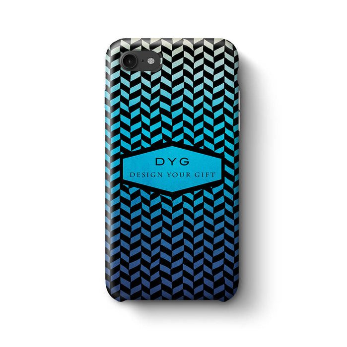 Geometric Hollow Design With Text iPhone 8 3D Custom Phone Case blue lagoon