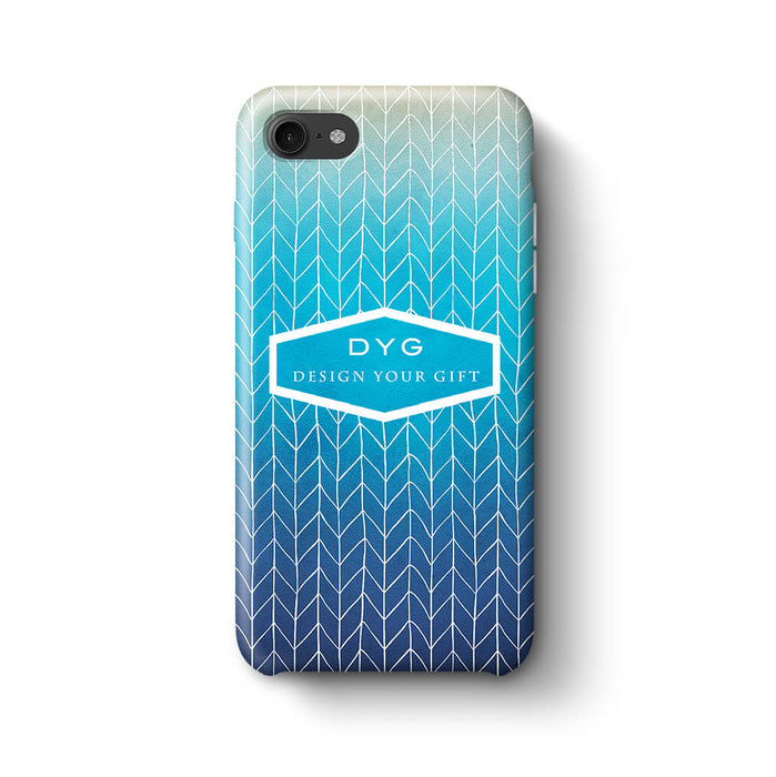 ZigZag Ombre With Text iPhone 8 3D Personalised Phone Case blue lagoon