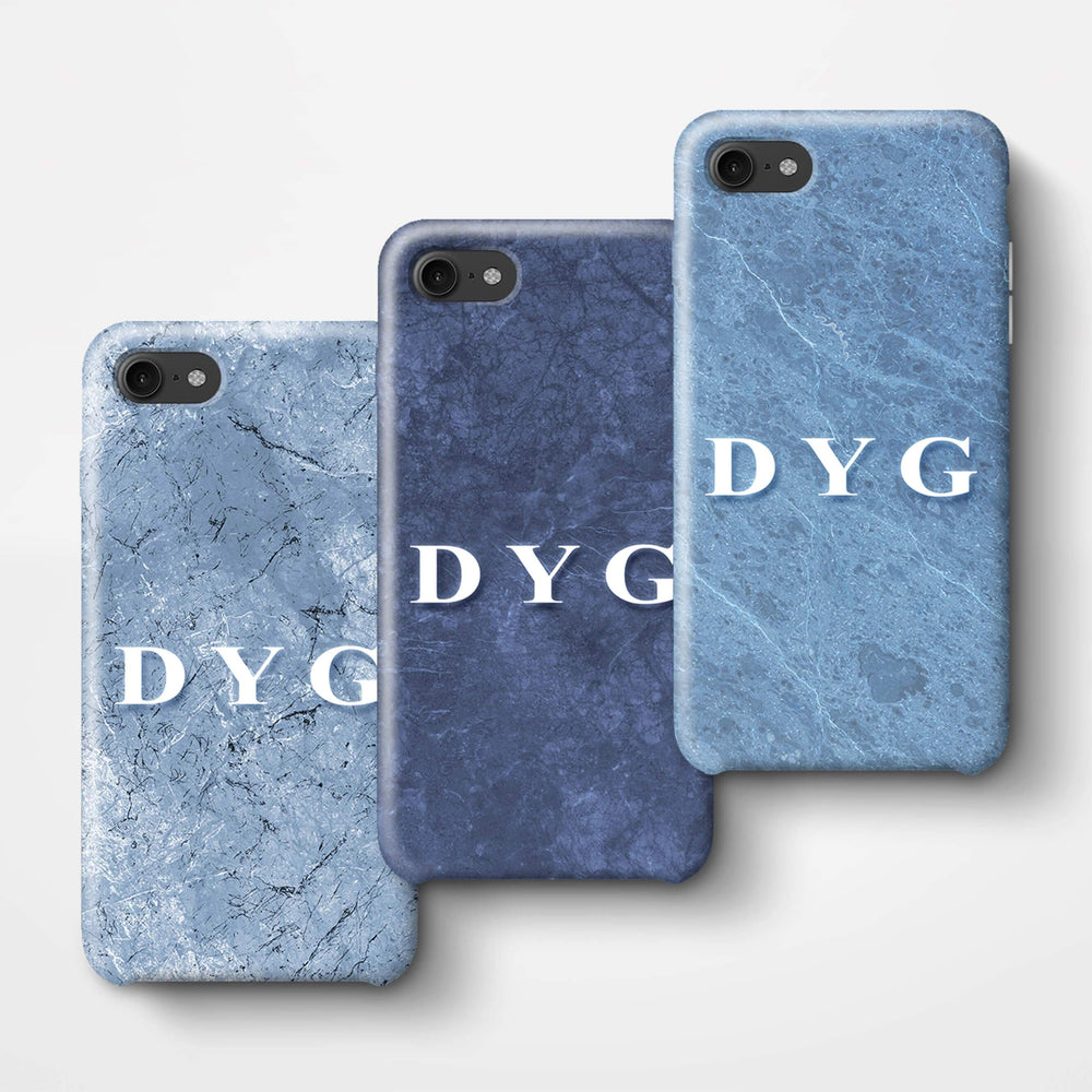 Blue Marble With Initials iPhone 8 3D Custom Phone Case 3 variants