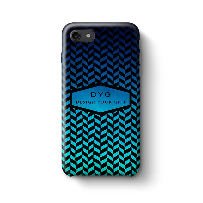 Geometric Hollow Design With Text iPhone 8 3D Custom Phone Case blue sea