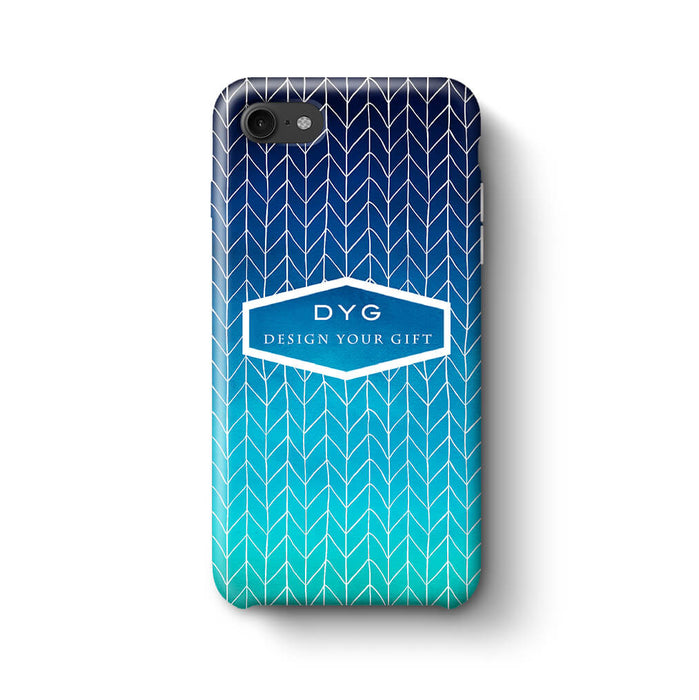 ZigZag Ombre With Text iPhone 8 3D Personalised Phone Case blue sea