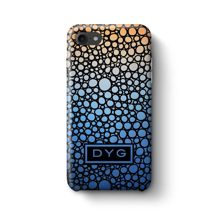 Bubbles Hollow with initials iPhone 8 3D Personalised Phone Case blue sky