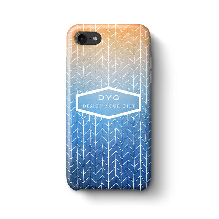 ZigZag Ombre With Text iPhone 8 3D Personalised Phone Case blue sky