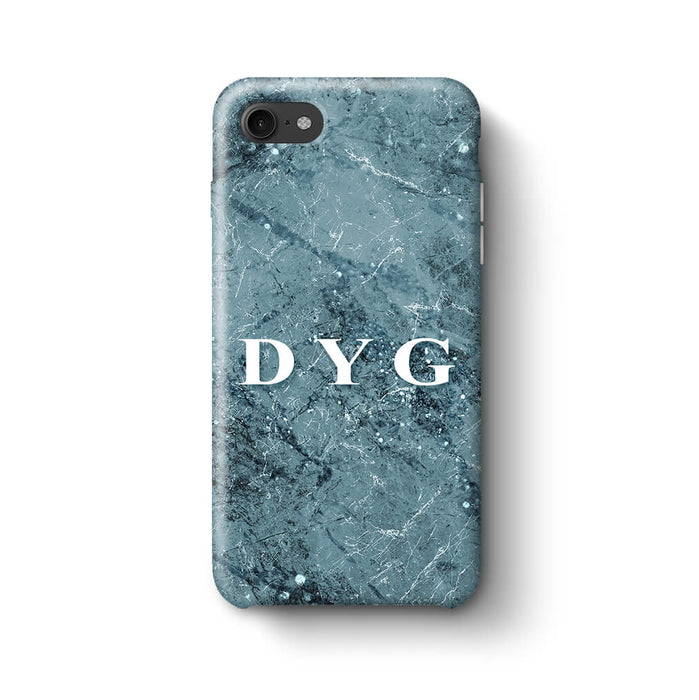 Sparkle Marble With Initials iPhone 8 3D Personalised Phone Case blue