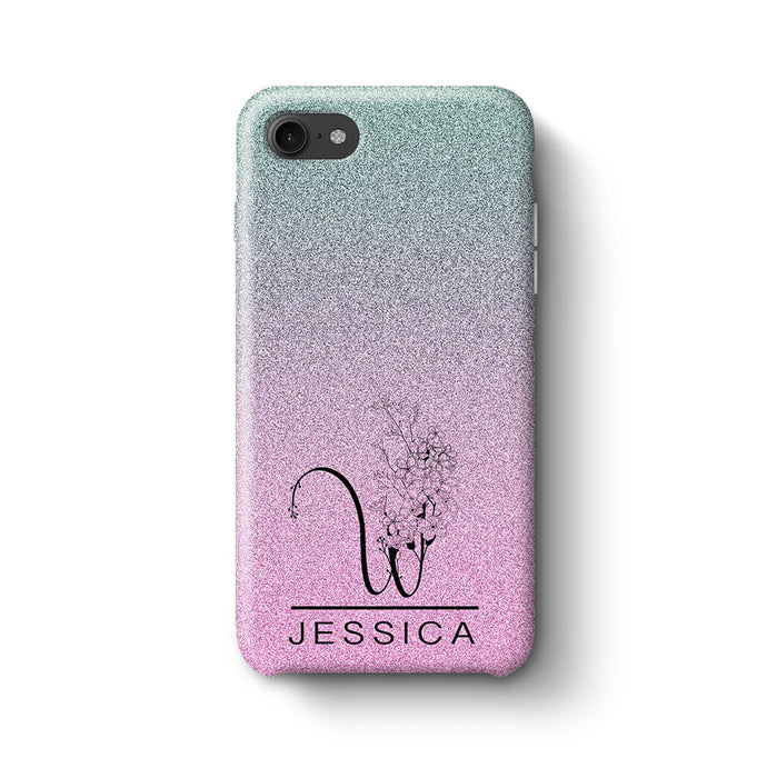 Glitter Ombre With Initial & Name iPhone 8 3D Custom Phone Case blue and pink