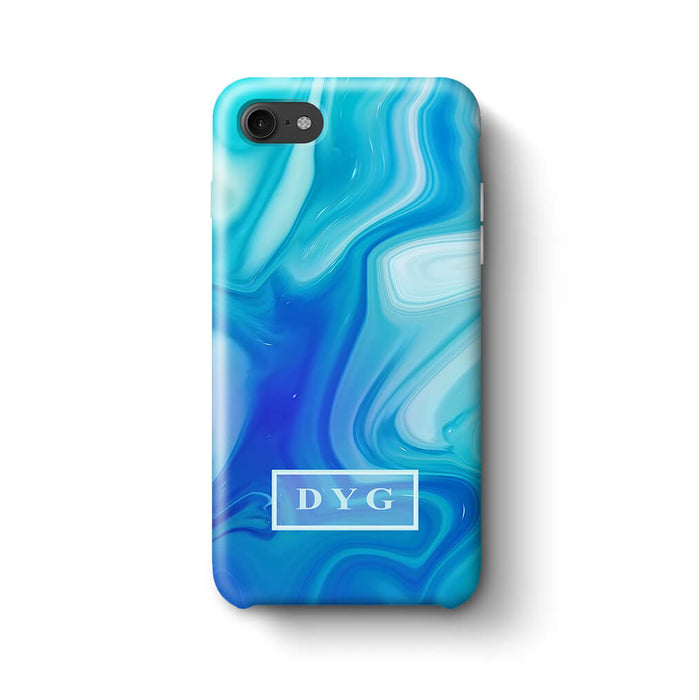 Liquid Marble With Initials iPhone 8 3D Personalised Phone Case blue
