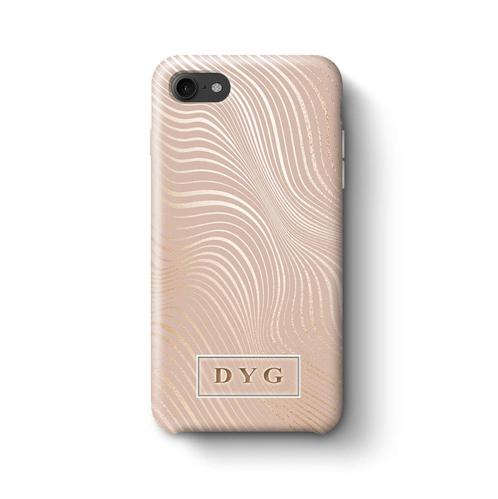 Glossy Waves With Initials iPhone 8 3D Custom Phone Case Champagne