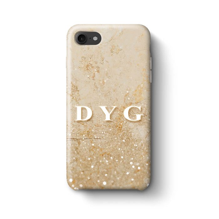 Glitter Marble With Initials iPhone 8 3D Custom Phone Case cream