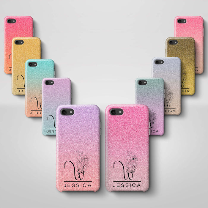 Glitter Ombre With Initial & Name iPhone 8 3D Custom Phone Case variants