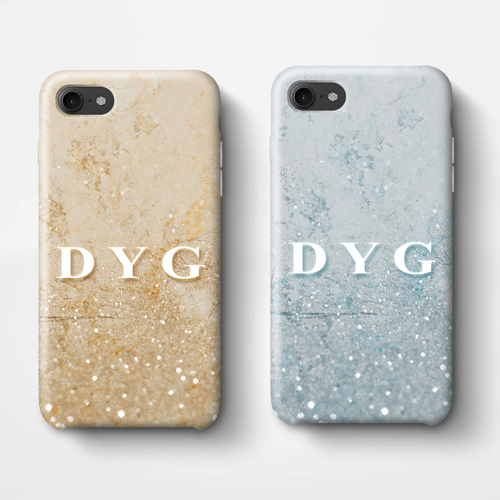 Glitter Marble With Initials iPhone 8 3D Custom Phone Case variants