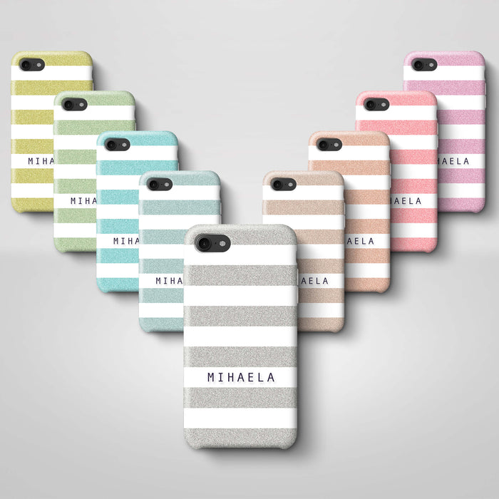 Glitter Stripes With Name Phone 8 3D Custom Phone Case variants