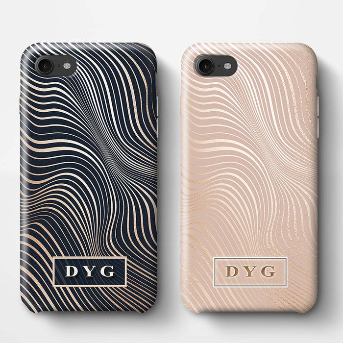 Glossy Waves With Initials iPhone 8 3D Custom Phone Case Variants