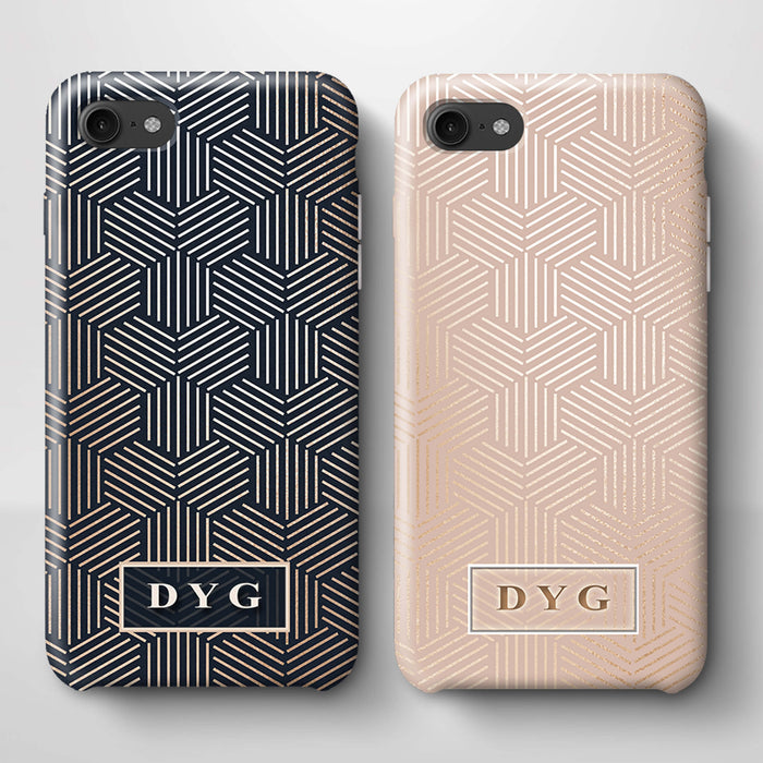 Glossy Geometric Pattern With Initials iPhone 8 3D Phone Case variants
