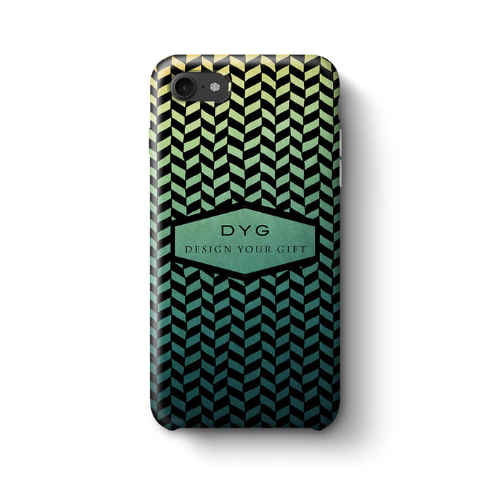 Geometric Hollow Design With Text iPhone 8 3D Custom Phone Case green lake