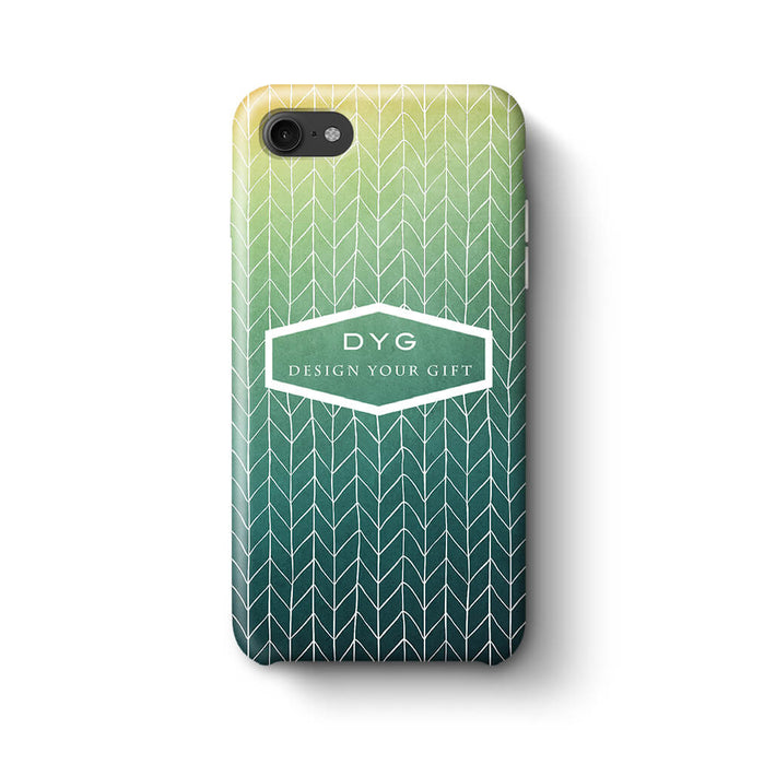 ZigZag Ombre With Text iPhone 8 3D Personalised Phone Case green lake
