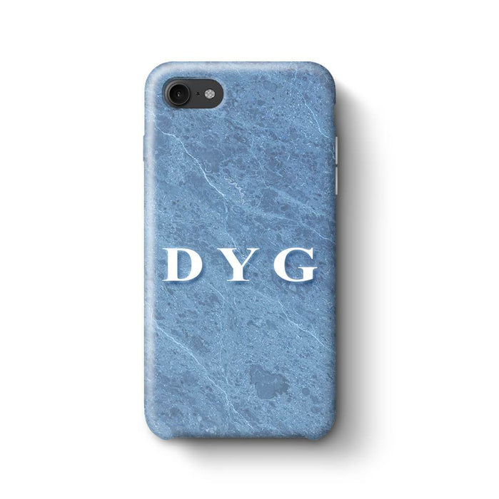 Blue Marble With Initials iPhone 8 3D Custom Phone Case ice blue