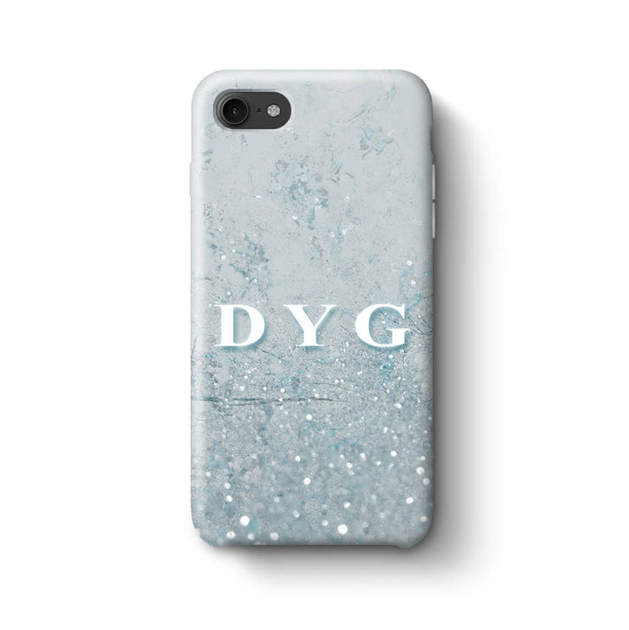 Glitter Marble With Initials iPhone 8 3D Custom Phone Case light blue