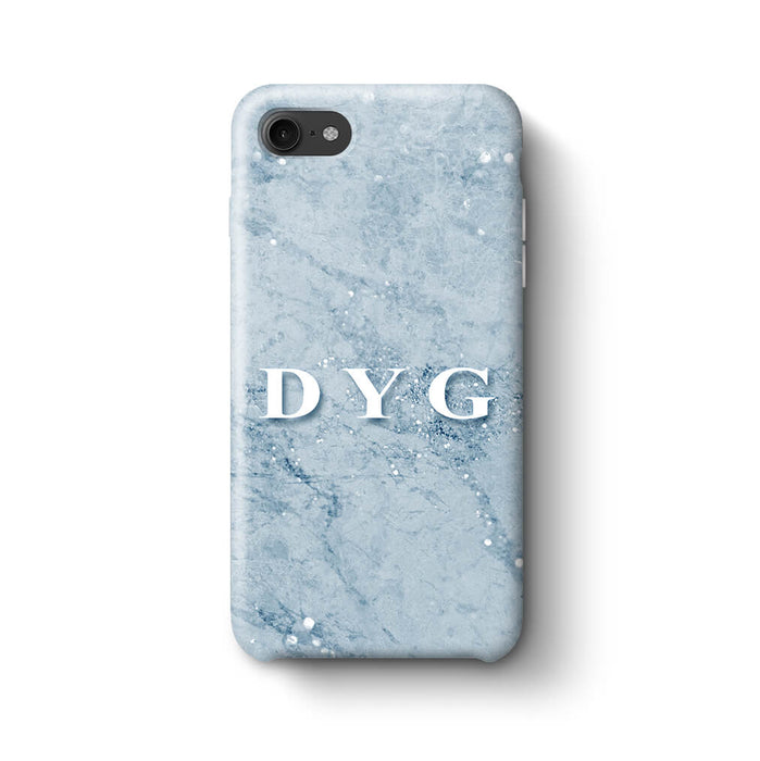 Sparkle Marble With Initials iPhone 8 3D Personalised Phone Case light blue